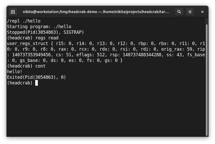 Headcrab command line demonstration